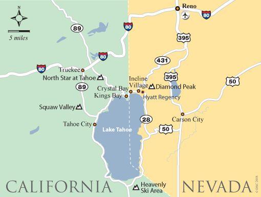 Map to Lake Tahoe   Lake Tahoe   Pinterest   Lake tahoe, Lake tahoe ...