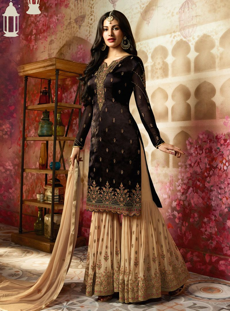 4712c60df5 Buy Black Georgette Palazzo Style Suit 143656 online at lowest price from  huge collection of salwar kameez at Indianclothstore.com.