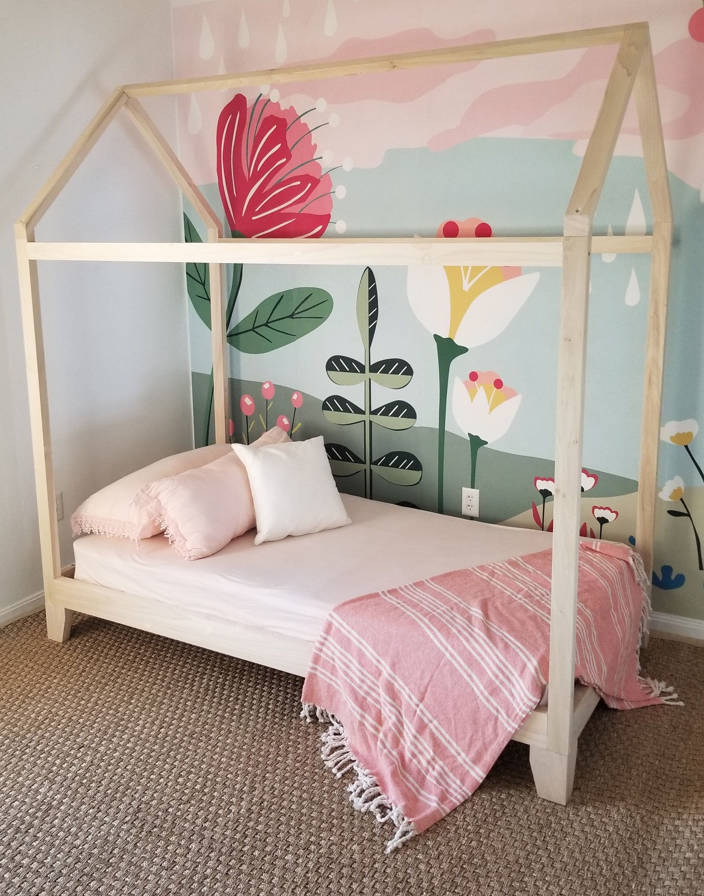 Hardwood Montessori Twin, Full, House Bed Frame with Legs