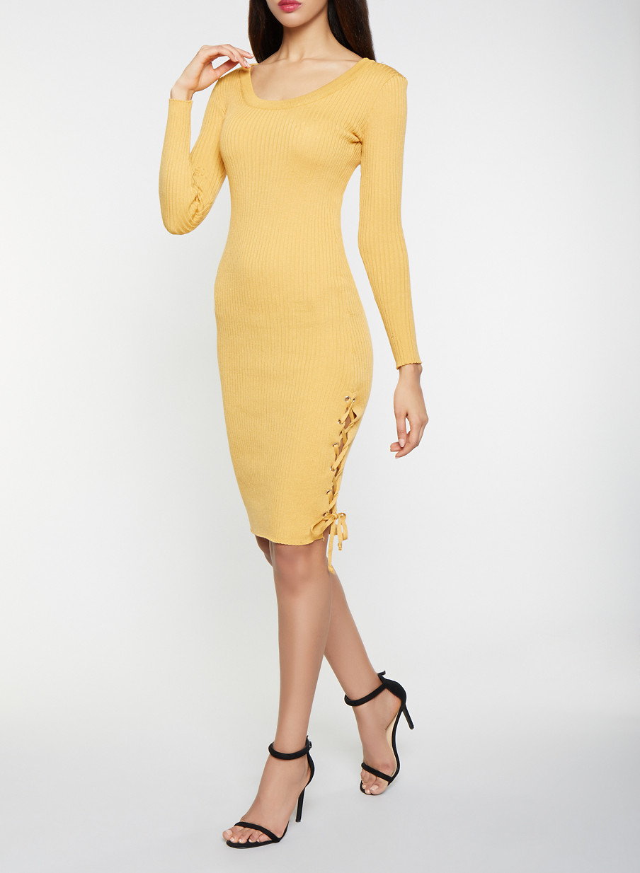 ed8f5baadada Lace Up Sweater Dress - Yellow - Size XL