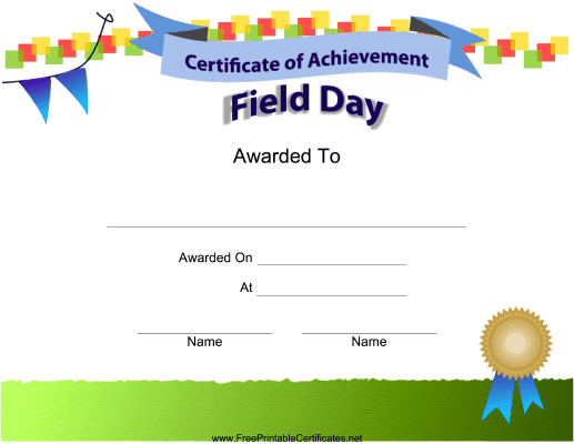 Field Day Achievement Printable Certificate Field Day Printable Certificates Certificate Of Achievement