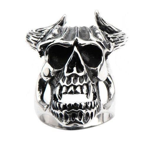 Stainless Steel Black Oxidized Skull with Bull Horns Ring