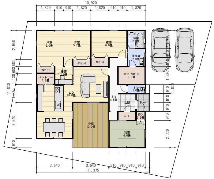 32坪4ldk中庭のある平屋の間取り 理想の間取り 中庭のある平屋