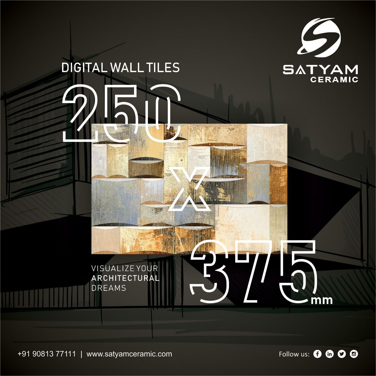 Visualize Your Architectural Dreams Satyam Ceramic Digital Wall Tiles 250x375 Mm Satyamceramic Satyamtiles Digitalwalltil Digital Wall Wall Tiles Visual