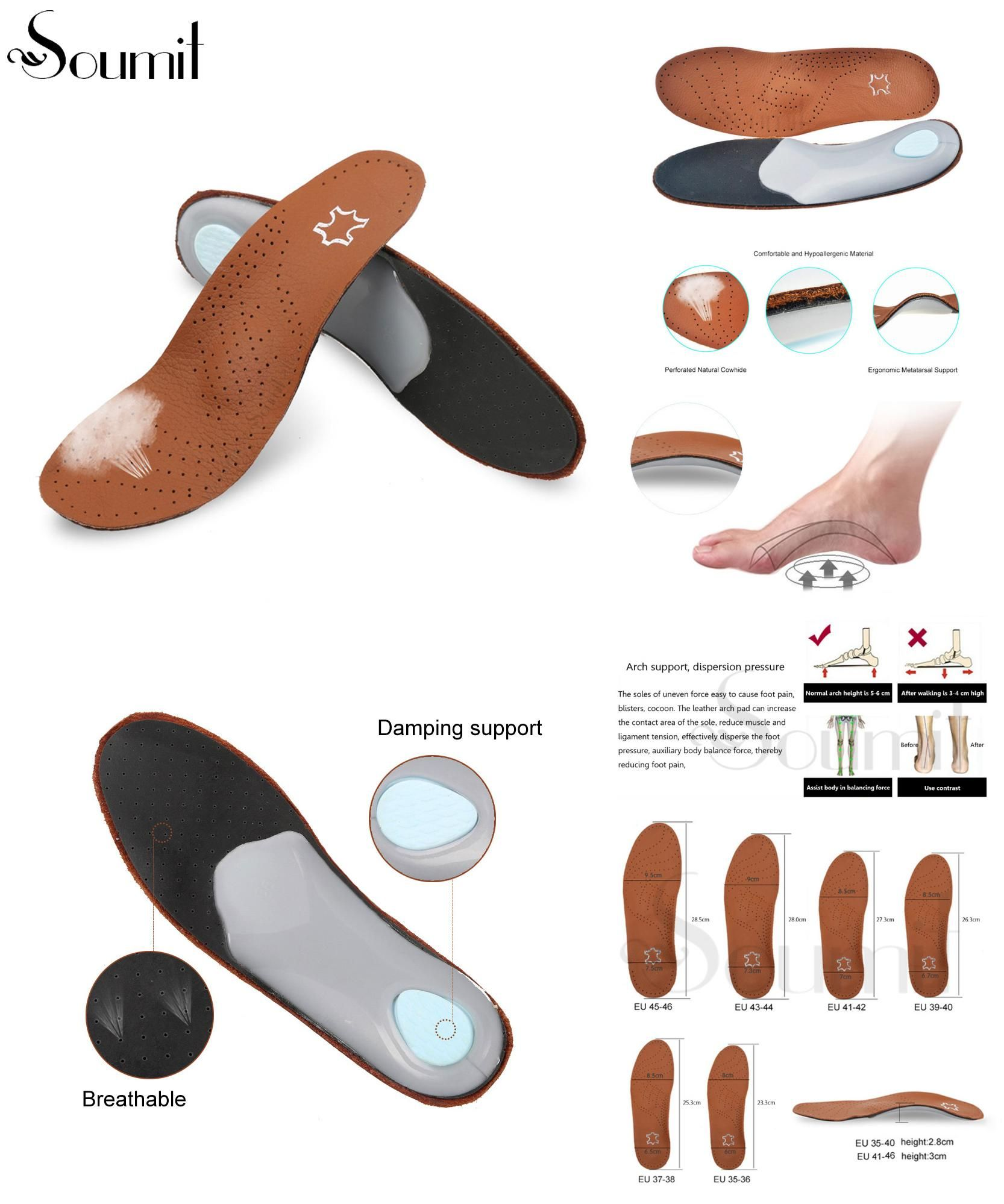 c5fadf1c60 [Visit to Buy] Premium Breathable Leather Orthotic Shoe Insoles Cowhide  High Arch Cushion Pads for Reducing Flat Foot Pain Correction O X Legs # ...