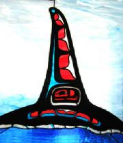 Orca Out of the Mist II - B.James 2006 (stained glass & stone)