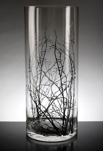 Birch Tree Branch Clear Glass Cylinder Vase 14in For My
