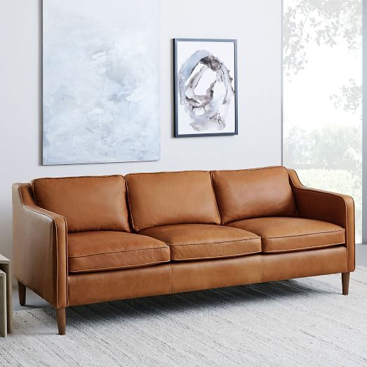 Dekalb Leather Sofa 85 West Elm Fireplace