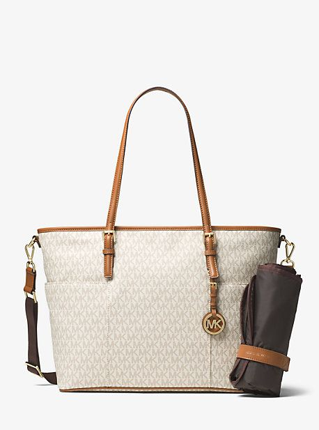 1b613e8dd704 MICHAEL MICHAEL KORS JET SET TRAVEL LOGO DIAPER BAG.  michaelmichaelkors   bags  baby bags  leather