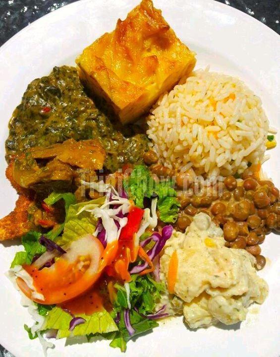 Callaloo Fish Macaroni Pie Rice Stewed Pigeon Peas Potato Salad Amp Fresh Salad Trini Food