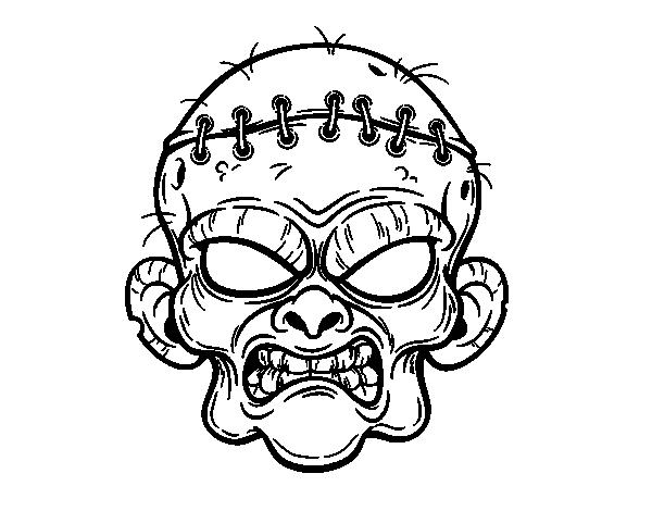 Dibujo De Cara De Bruja Para Colorear: Dibujo De Cara De Zombie Para Colorear