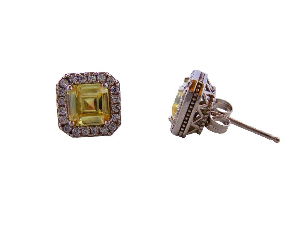 Kiera Couture Sterling Silver Swarovski Zirconia Stud Earrings Yellow Kieracouture