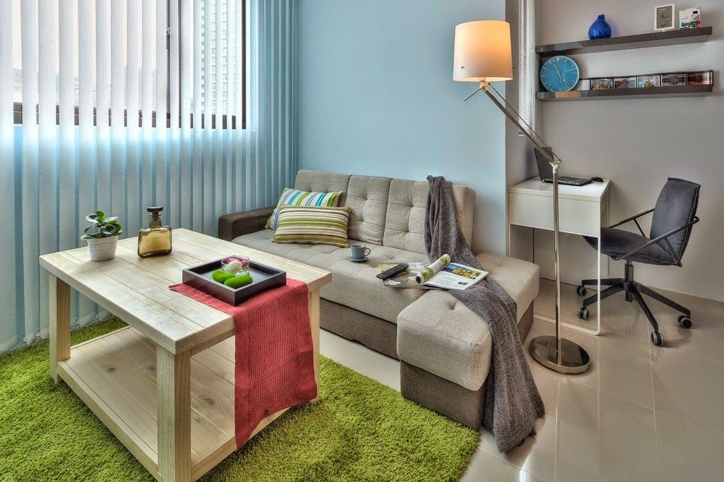 kleine zimmerrenovierung dekor gros kucheninsel, kitnet ou quitinete decorada 32m²: perfeição de mini apartamento, Innenarchitektur