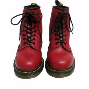 Doc Martens Boots Air Wair Mens Vintage Pre-Worn Cherry Red Leather 8  Eyelet Dr