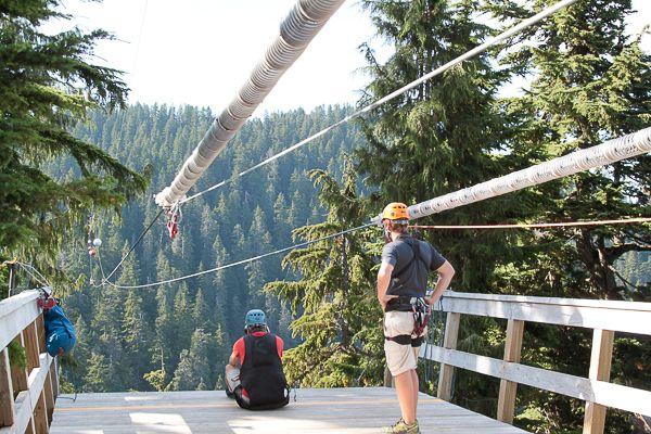 Tirolesa chegando no Grouse Mountain