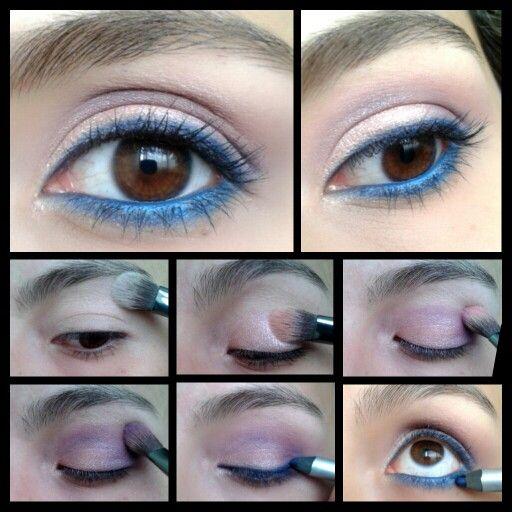 Paso a paso, tutorial de maquillaje con delineador azul