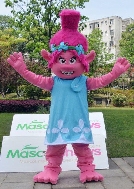 trolls gnome cartoon character princess poppy mascot costume adult dreamworkstrolls trolls. Black Bedroom Furniture Sets. Home Design Ideas
