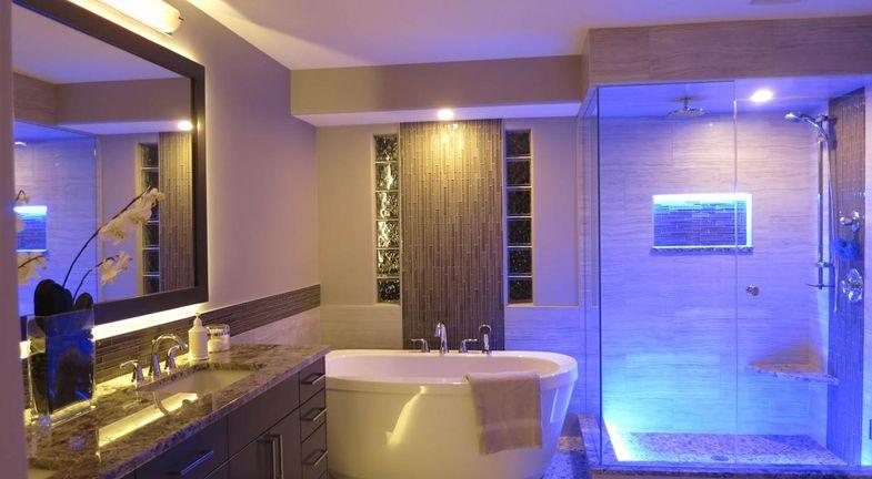 The Right Lighting For Your Bathroom Kitchen Bath Trends Led Bathroom Lights Modern Bathroom Lighting Shower Lighting