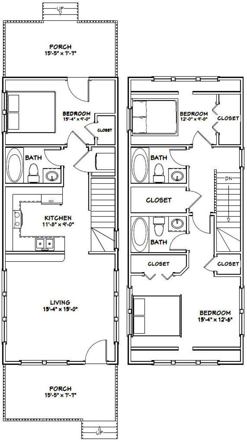 16x40 House 1193 Sq Ft Pdf Floor Plan Instant Etsy In 2020 Tiny House Floor Plans Shed House Plans Small House Floor Plans