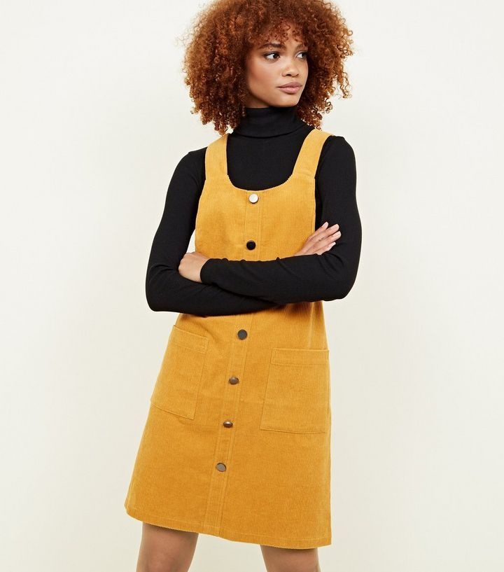 0f021d64c97 Mustard Button Front Corduroy Pinafore Dress in 2019