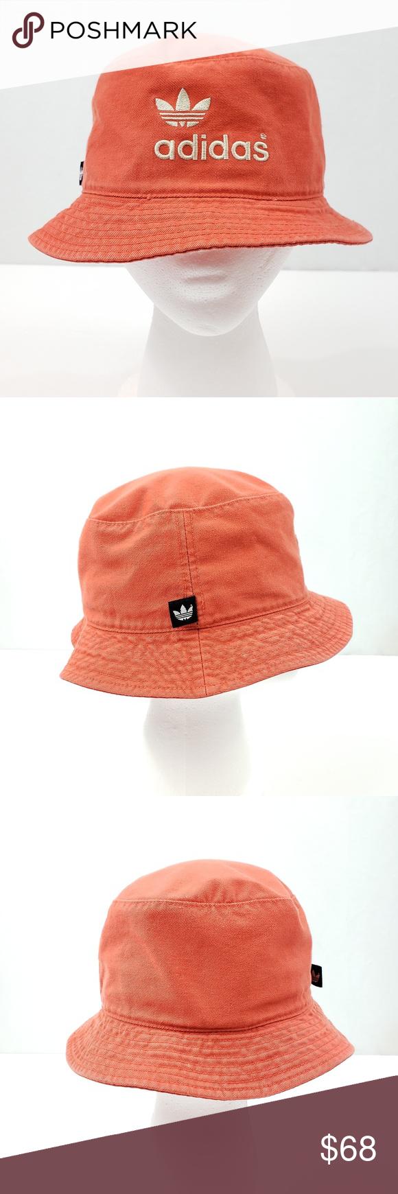 4e0443aa89c3d Vintage 90s Adidas Trefoil Orange Bucket Hat 100% cotton Ivory ...