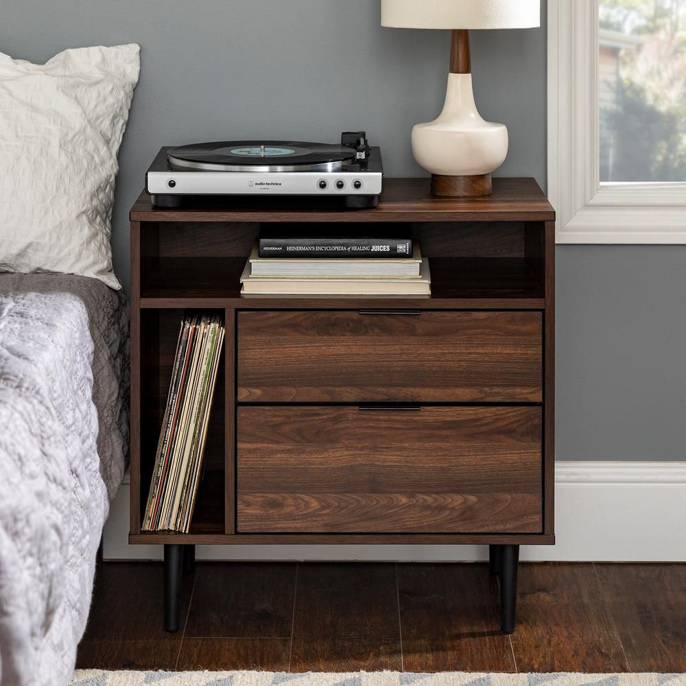 "12"" Modern Storage Side Table - Dark Walnut-HD12 - The Home"