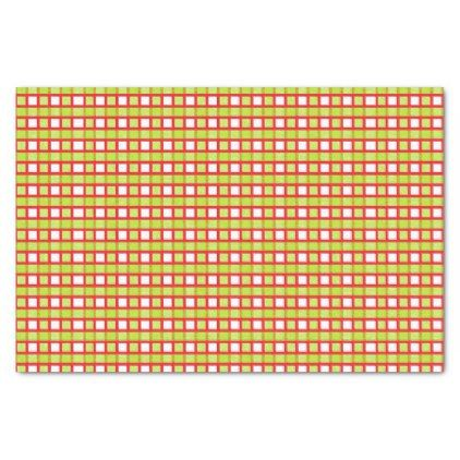 Red White and Static Lime Green Weave Tissue Paper - pattern sample