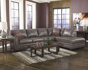 Contemporary Gray Bonded Leather Sectional Modern Couch Living Room Furniture