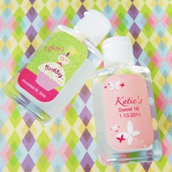 Personalized Birthday Hand Sanitizer Sweet 16 Party Favors