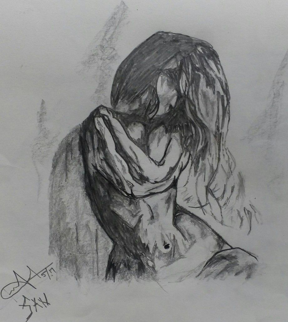 A pencil sketch of a modern view of a girl mixed with a sense of contemporary modernity