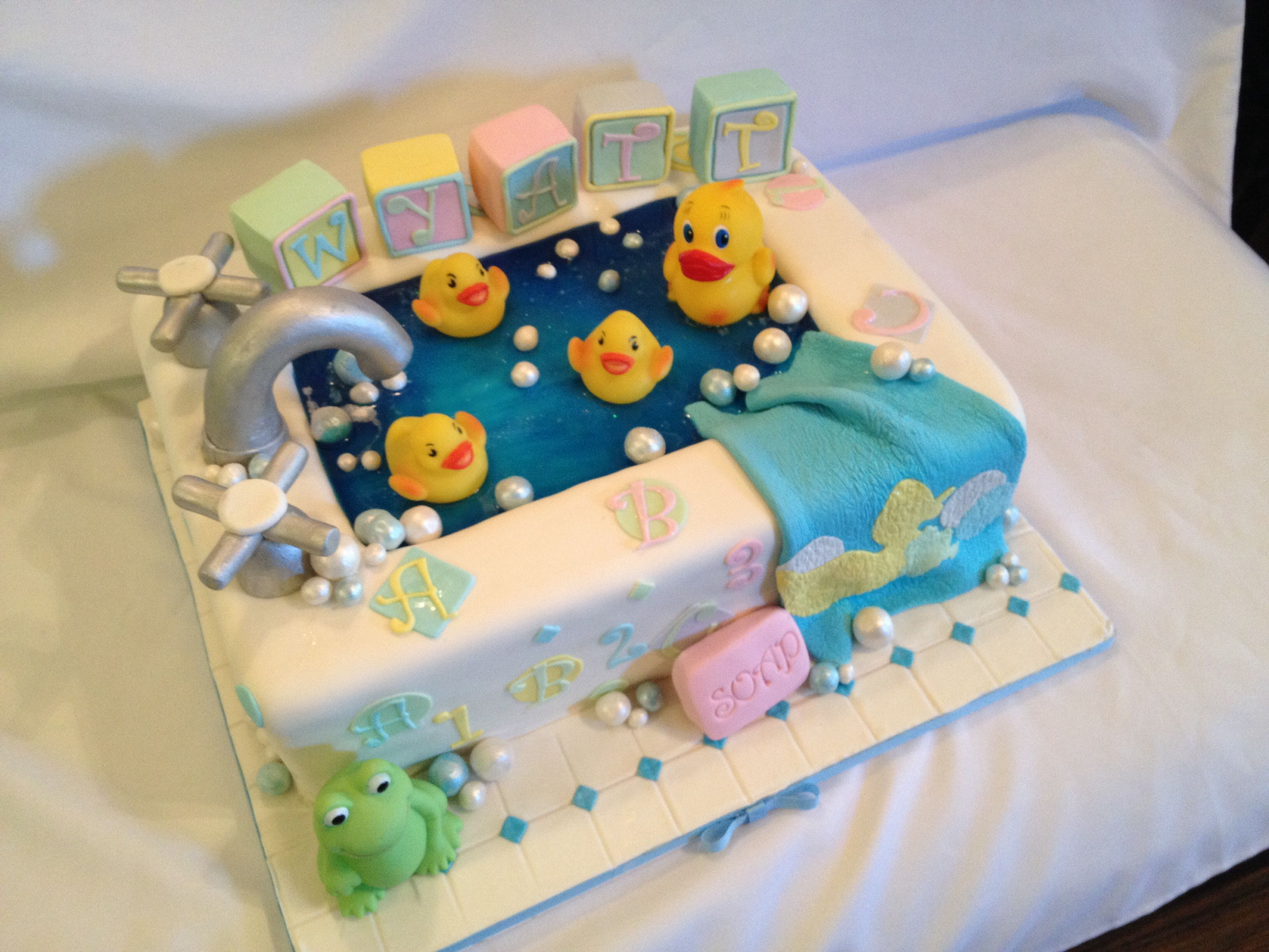 babyshower rubber duck in a tub cake check out my page at wwwfacebook