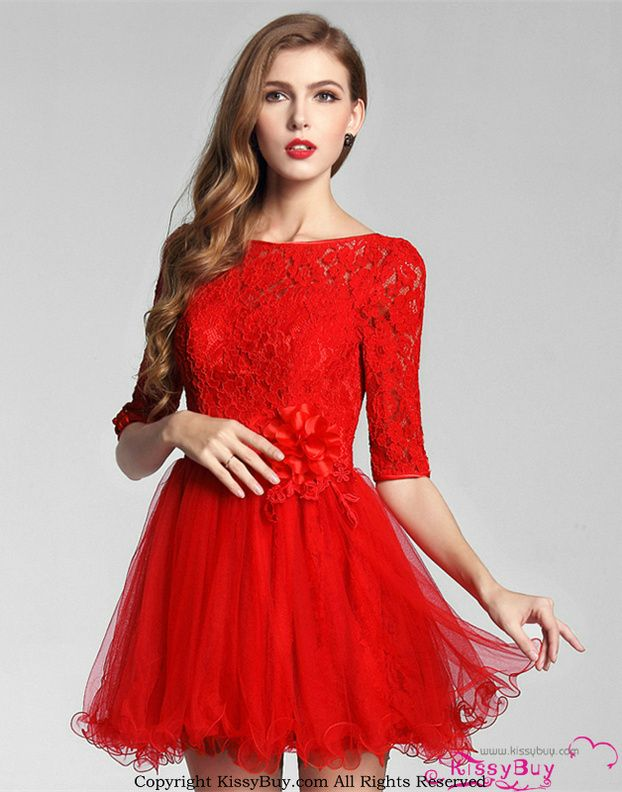Modest High Neck Middle Sleeves Tulle See Through Embroidery Lace Vintage Girls Christmas Party Dresses