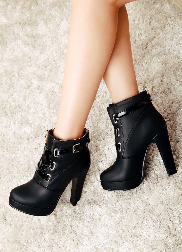 0bc3a8a90b Unique Chunky Heel Winter Lace Up Buckle Martin Boots   Shoes   Shoe ...