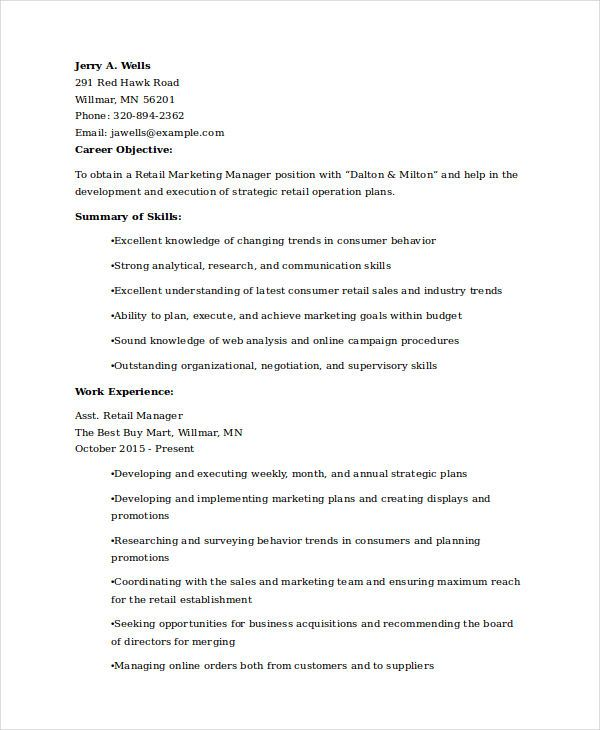 Retail Marketing Experience Resume Sles For