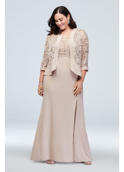 Two Piece Plus Size Set With Jacket And Dress David S Bridal Mother Of Groom Dresses Mother Of The Bride Gown Plus Size Gowns