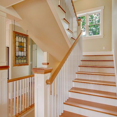 White / wood stairs and banisters | Staircase Refinishing ...