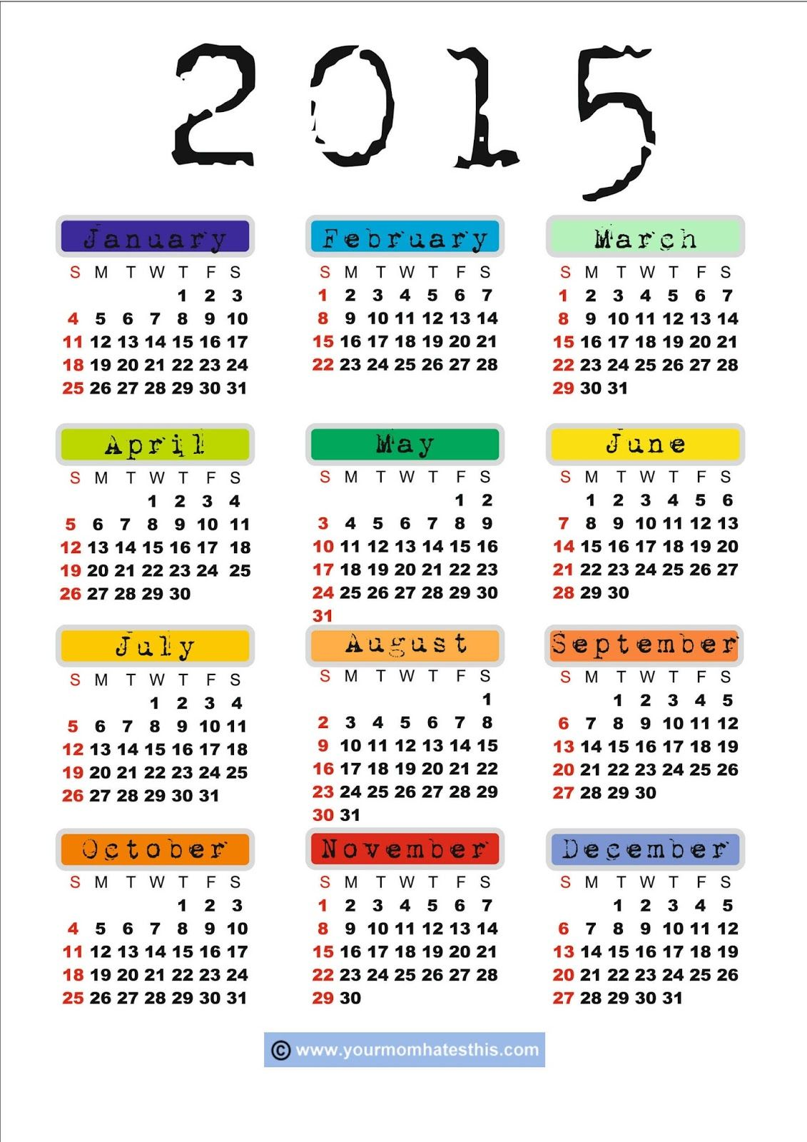 2015 US Calendar Images Free Download - New Year US Calendar 2015 ...