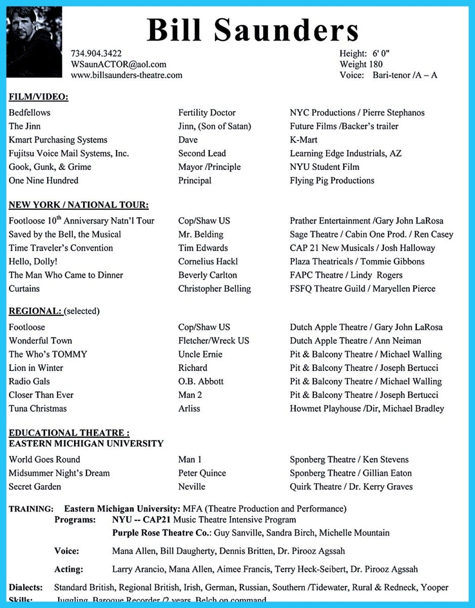 Cool Amazing Actor Resume Samples To Achieve Your Dream Check More At Http Snefci Org Amazing Actor Resume Samples Achieve Dream Template Film