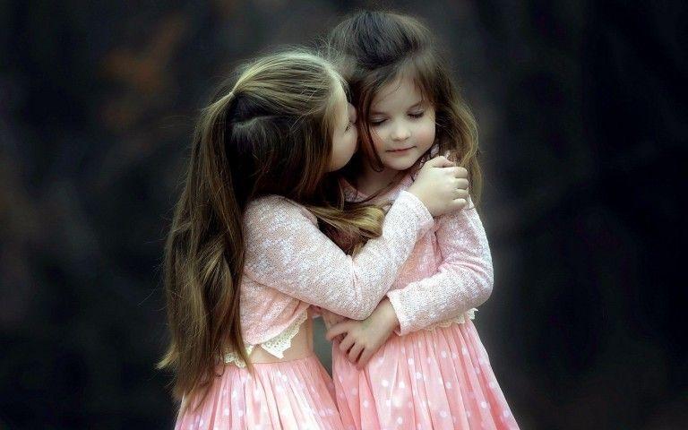 Little Sister Cute Kiss Wallpaper