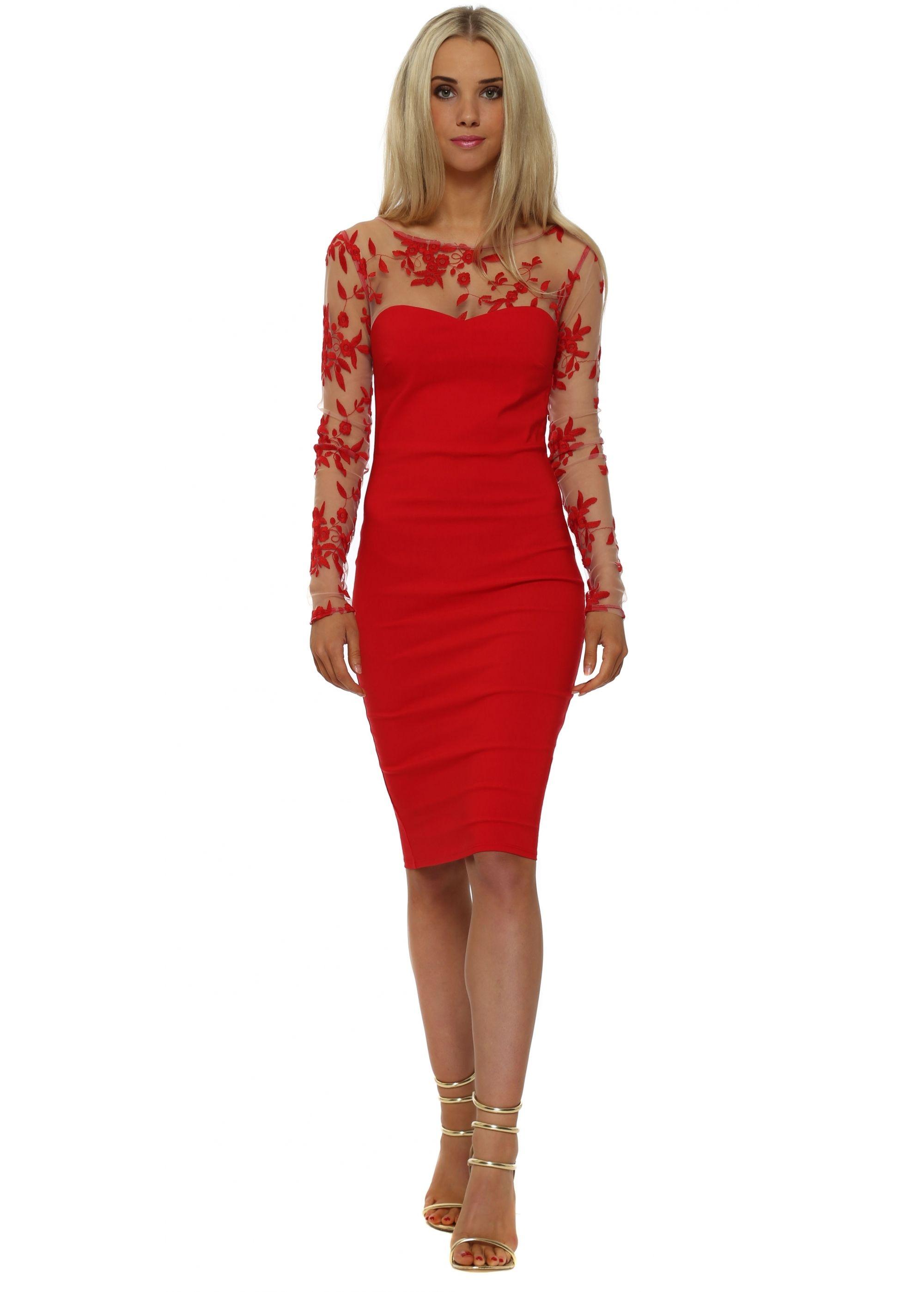 Goddess london red long sleeve pencil dress cuao pinterest