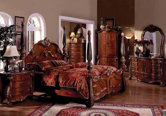 Antique Bedroom Furniture   Kensington Antique Cherry Queen Poster Bed   Bedroom  Furniture