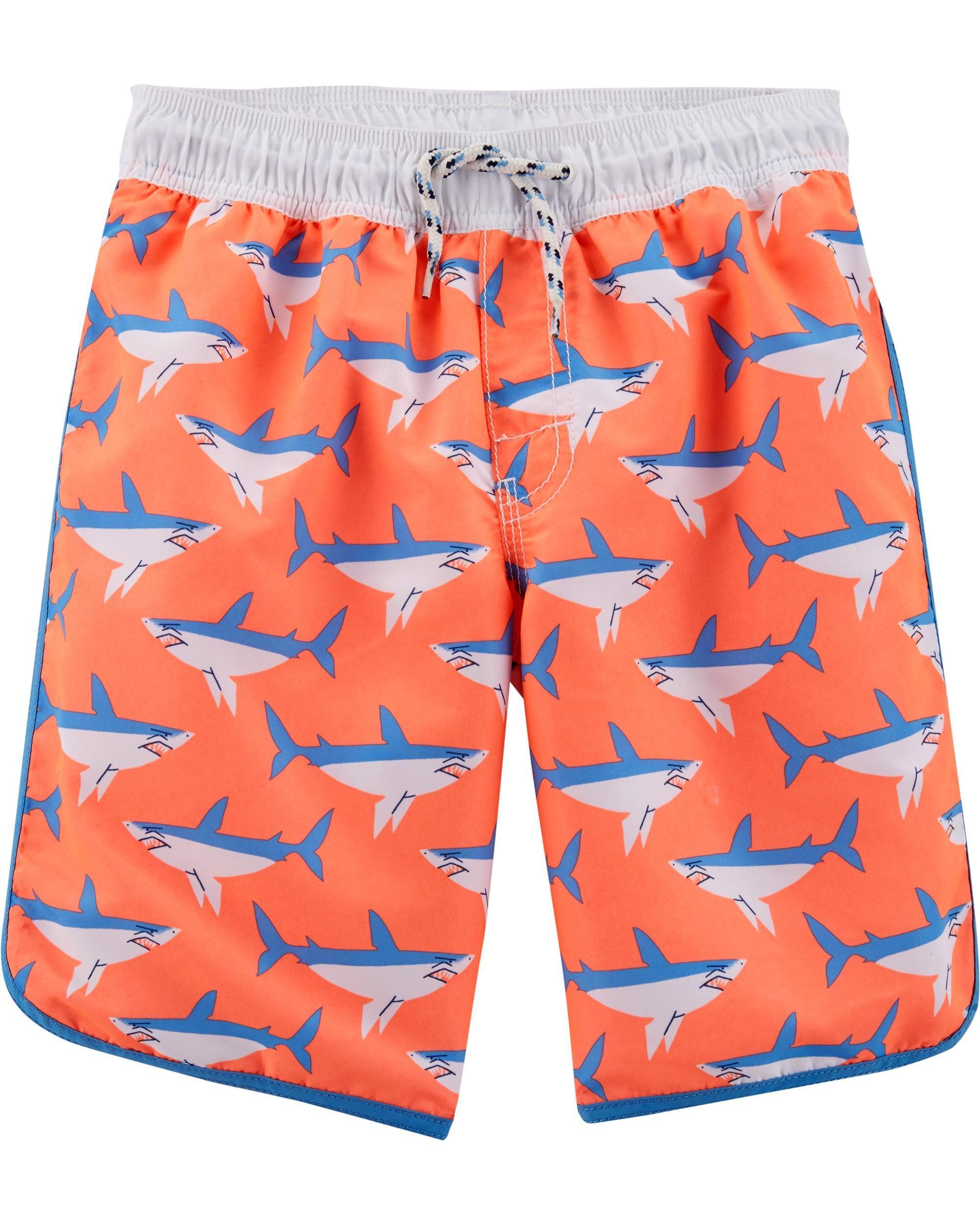 Boy Board Shorts Swimwear Adjustable Waist Pocket Swim Trunk Dolphin Blue Green