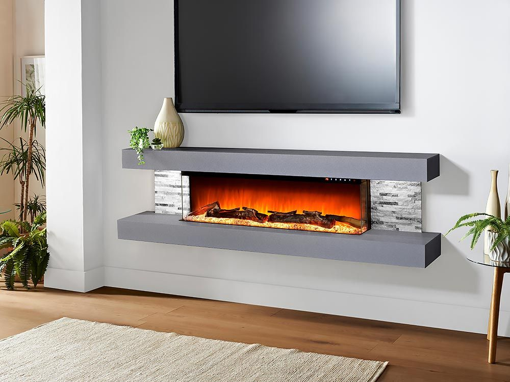 Evolution Fires 72 In Vegas Wall Mount Electric Fireplace In