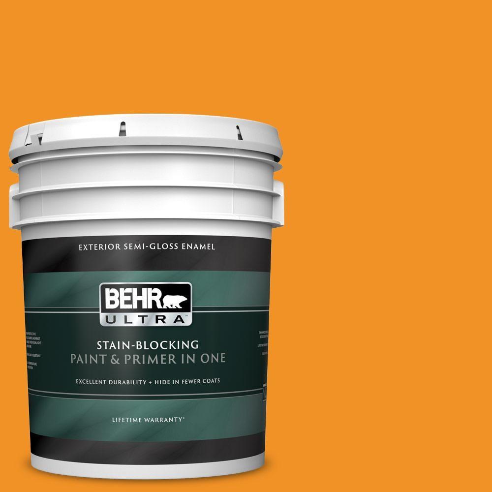 Behr Ultra 5 Gal 290b 7 Yam Semi Gloss Enamel Exterior Paint And Primer In One 585305 Exterior Paint Exterior Wood Stain Staining Wood