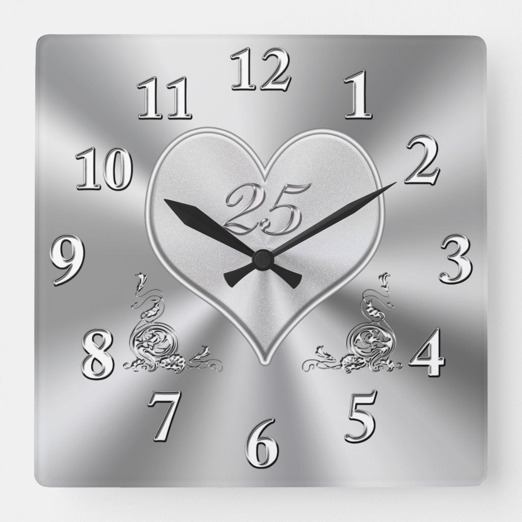 Silver 25th Wedding Anniversary Clocks 25th Anniversary Clocks Silver Wedding In 2020 Anniversary Clock 25th Wedding Anniversary Silver Anniversary Gifts
