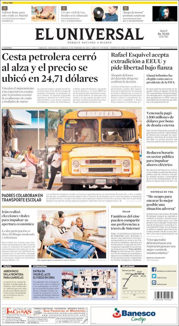 #20160227 #VENEZUELA #Caracas #ELUNIVERSALdiarioCARACAS Sábado 27 FEB 2016 http://en.kiosko.net/ve/2016-02-27/np/ve_universal.html