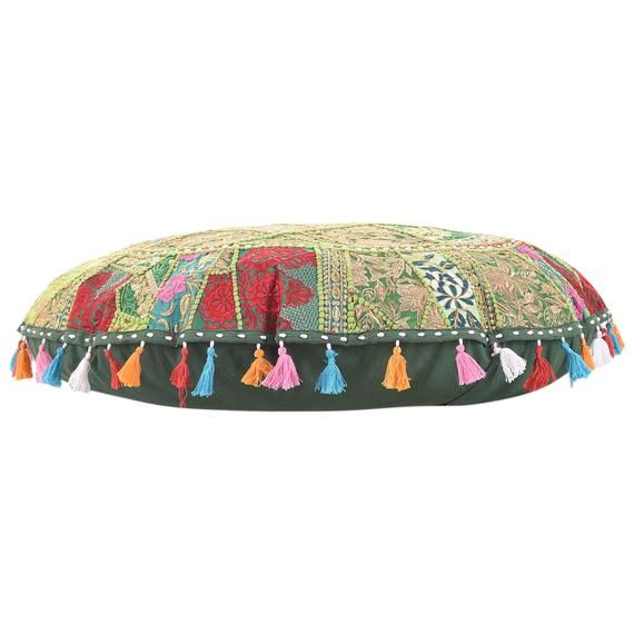 Indian Patchwork Floor Pillows Round Hippie Yellow Embroidery Yoga Seat Footstools Large Decorative Floor Cushion Cover Handmade Bedroom Art