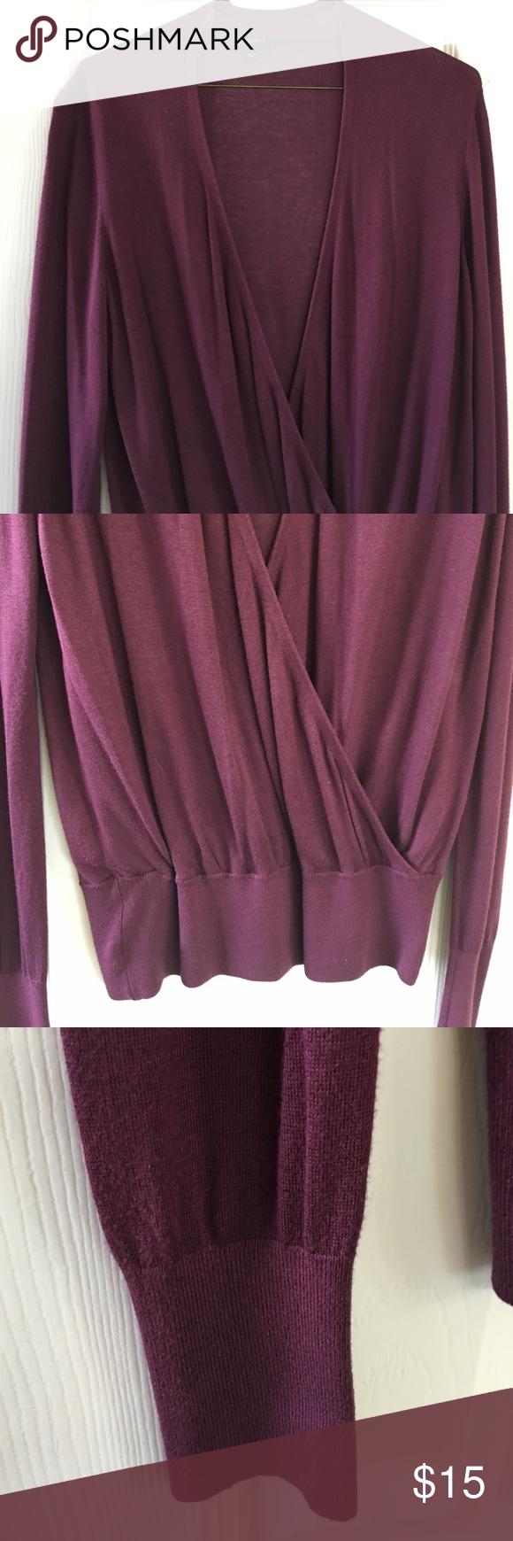 Deep purple drape front sweater Great shape! Ann Taylor Sweaters ...