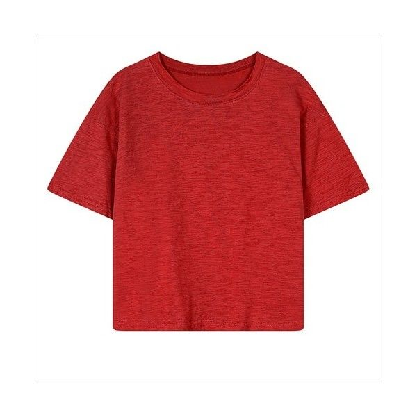 Red Plain Round Collar Cotton T-Shirt 15TS00083-3 ($11) ❤ liked on Polyvore featuring tops, t-shirts, cotton tee, red tee, red top, short sleeve cotton tops and short sleeve tee