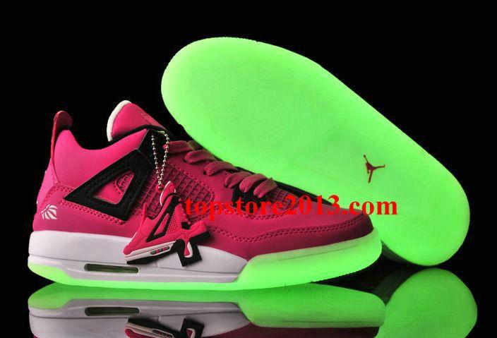 f71aa39c6593 Girls Jordan 4 Vivid Pink Black-White Glow-in-the-Dark Sole